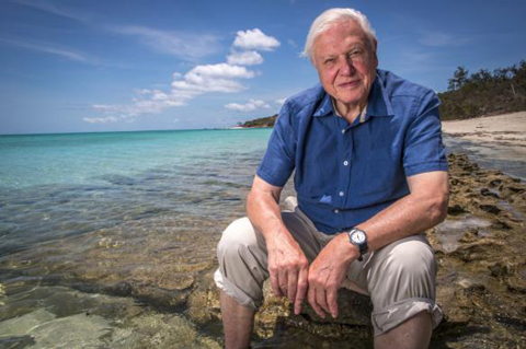 Sir David Attenborough sitting by the Great Barrier Reef, circa 2015