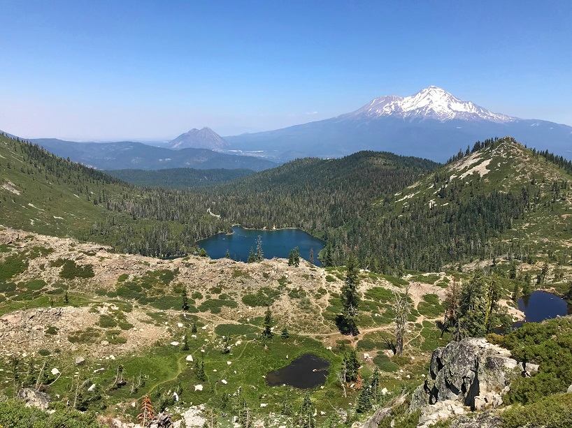 View of Mt. Shasta from the cliffs above Castle Lake