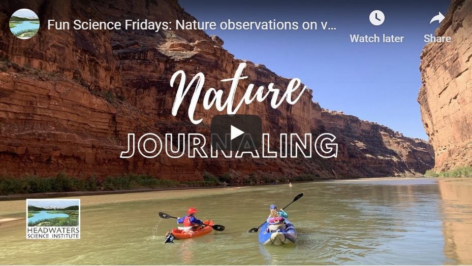 Screenshot of a video on Nature Journaling by Headwaters Science Institute