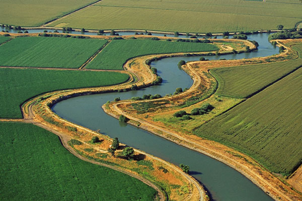 aerial view of field crops divded by serpentine water channel