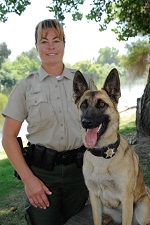 Warden Teri Hickey and K-9 Keara