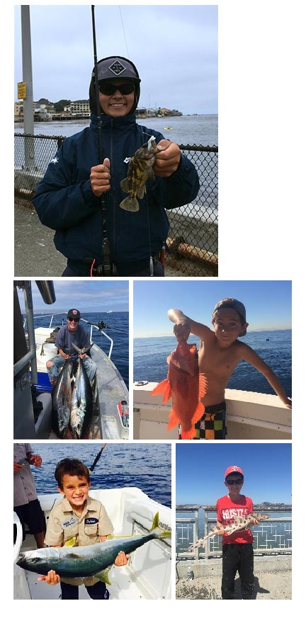 pictures of four people that have won awards for accomplishing California Fishing Passport challenges.