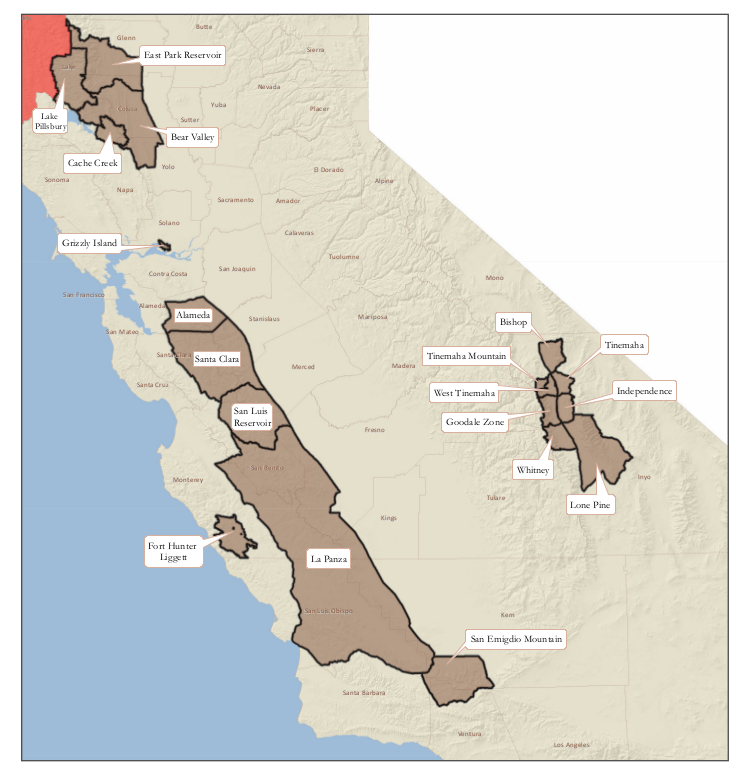 Map of Tule Elk hunts