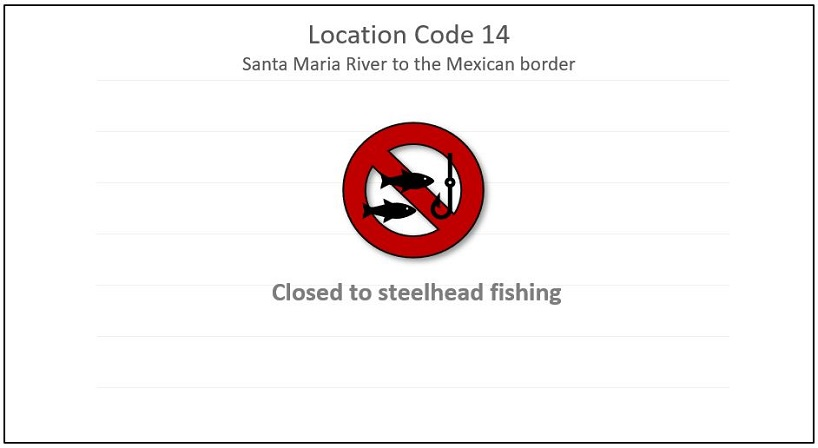 Image of a fishing icon with a red crossed out circle indicating that the Santa Maria River to the Mexican border (Location Code 14) is closed to steelhead fishing.