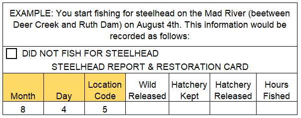 Example of the information on your Steelhed Report Card that should be filled in before you fish.