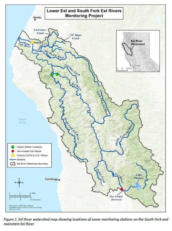Map showing the location of the South Fork Eel and Lower Eel River sonar cameras