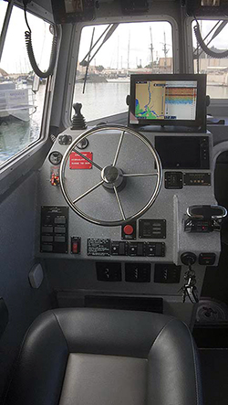 skipper's controls in a 32-foot research vessel