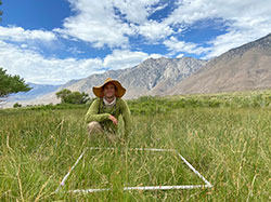 scientist, Aaron Johnson, sitting in a field with a plastic pipe square on on the grass with mountains and blue sky with clouds
