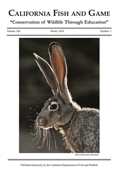 Cover for California Fish and Game scientific journal featuring a photograph of a black-tailed jackrabbit