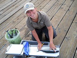 A young woman measures a fish on a pier.