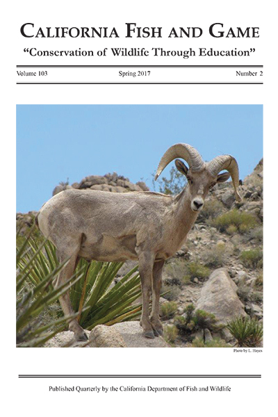 New issue of California Fish and Game scientific journal