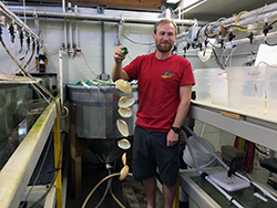 In a marine laboratory, a man wearing a red T-shirt holds what looks like a clam shell mobile.