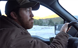 scientist Justin Dellinger driving in mountain lion territory