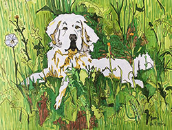 Scientist, Jennifer Garrison's portrait of a yellow dog sitting in tall grass with flowers