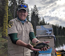 Scientist, Monty Currier, holding a small green fish (perch) on a lake with tall trees and cloudy grey sky