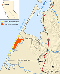 Map with orange and yellow areas to be restored, between Humboldt Bay and the Eel River