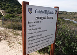 sign to ecological reserve in Carlsbad