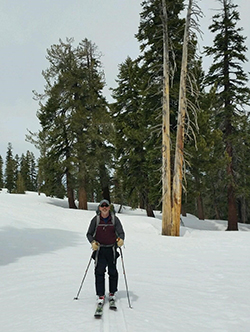 Man wearing ski gear, skis, and poles on snow with trees in background.