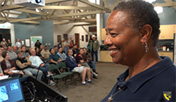 scientist chenelle davis speaking to a group