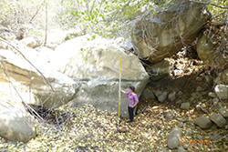 Woman wearing purple plaid shirt and black pants holding large yellow and white rod against large boulder. Background is filled with large boulders and vegetation.