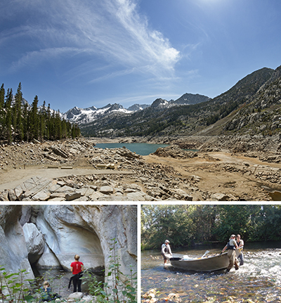 Collage of three different images. Top image is rocky, barren dirt area in front of small lake amongst trees and mountains. Bottom left photo is two women on rocks in front of water and large walls of rock. Bottom right photo shows three people pulling and pushing metal boat over shallow riverbed with trees in background.
