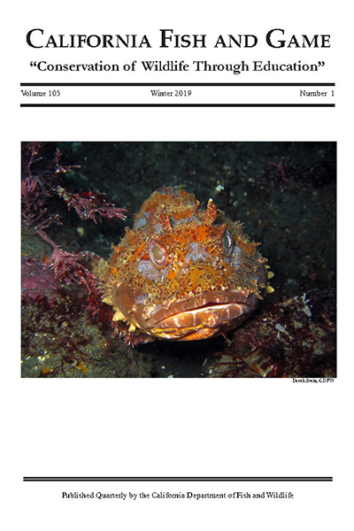 Book cover with photo of orange fish and text that reads California Fish and Game Conservation of Wildlife Through Education Volume 105 Winter 2019 Number 1 Published Quarterly by the California Department of Fish and Wildlife