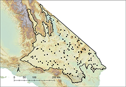 Partial map of the State of California with area marked in black outline and covered in small black dots.