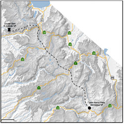A map of the elk's journey from Tahoe to Sonora Pass