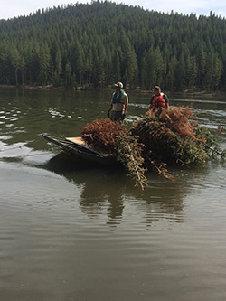 Two men wearing life jackets aboard small boat on body of water with pile of dead christmas trees. Forest and mountain in background
