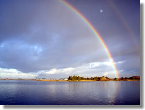Rainbow over Indian Island, North Humboldt Bay. Photo courtesy of Annie Eicher/UC ANR.