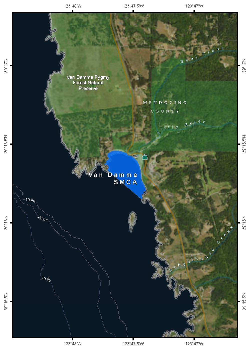 Map of Van Damme State Marine Conservation Area - link opens in new window
