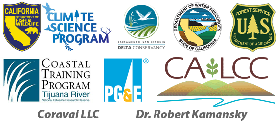 CDFW Climate Science Program, Delta Conservancy, CA Dept. of Water Resources, US Forest Service, Coastal Training Program, PG&E, CA LCC, Coravai LLC, Dr. Robert Kamansky