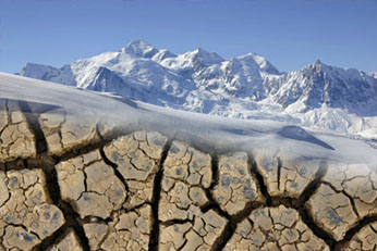 images of glacial mountains and parched earth © Microsoft