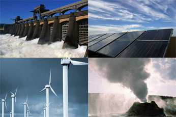 photos of dam, solar panels, wind turbines, geothermal vent