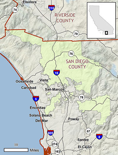 North County MSCP plan area map