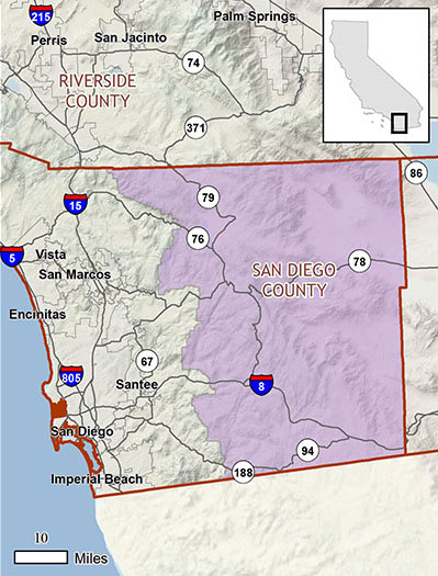 California Map San Diego County.Nccp Plan Summary East County Multiple Species Conservation