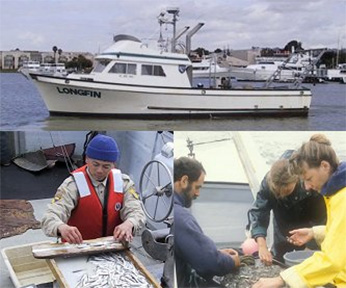 photo collage of boat and scientists working