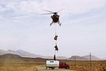 Helicopter ferrying captured bighorn sheep