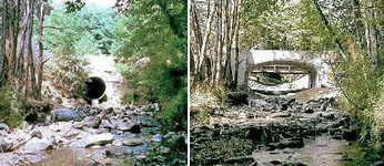 one image showing bridge with pipe for water to pass; another image showing bridge with clear stream passage below