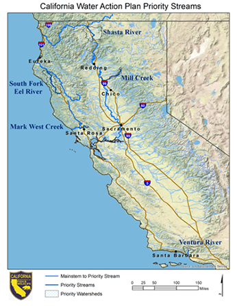 Map of California water Action Plan Priority Streams