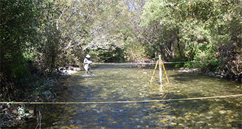 Habitat survey transects in the Big Sur River