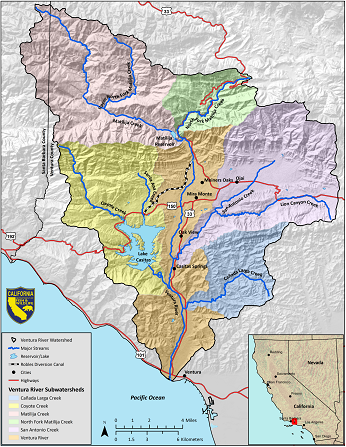 Ventura River Watershed Map - click to enlarge in new window