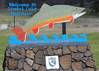 photo of Crystal Lake fish hatchery sign