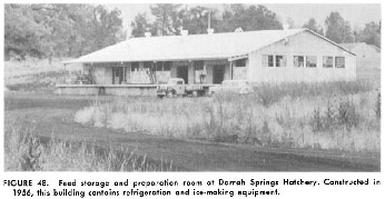 Feed storage and preparation room at Darrah Springs Hatchery - 1956
