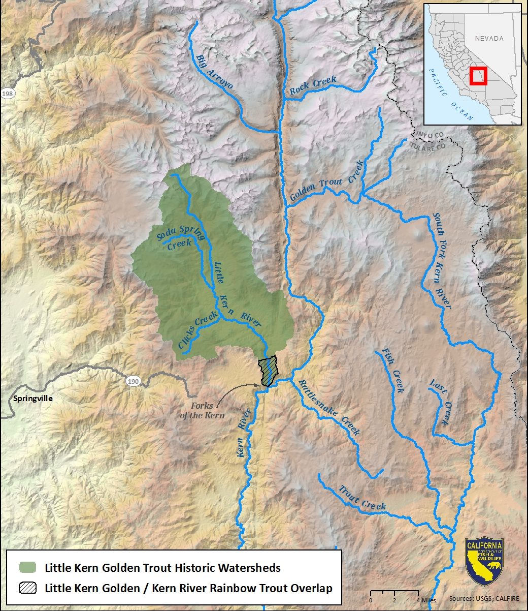 Map of Little Kern golden trout historic watersheds-link opens in new window