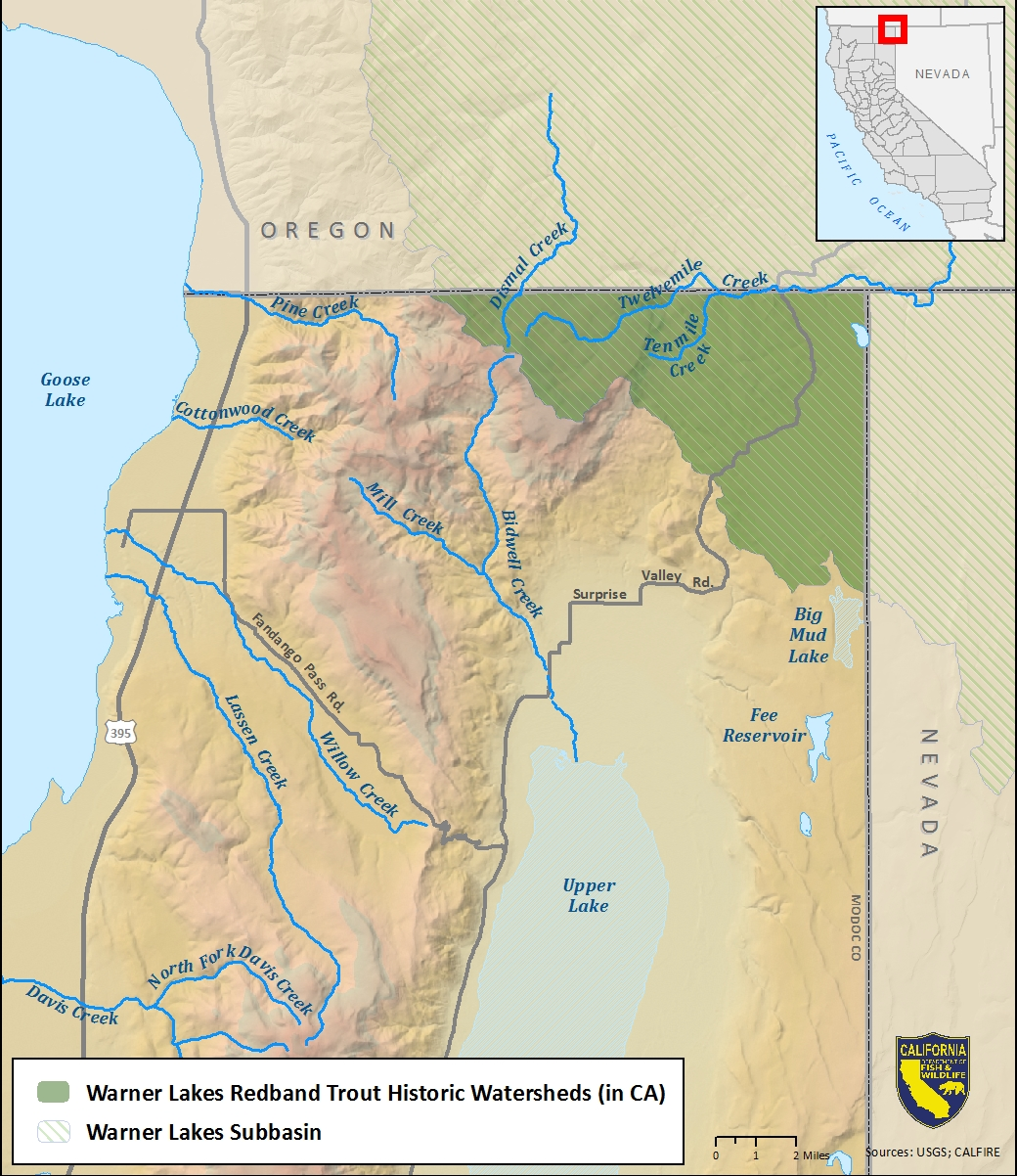Map of Warner Lakes redband trout historic watershed-link opens in new window