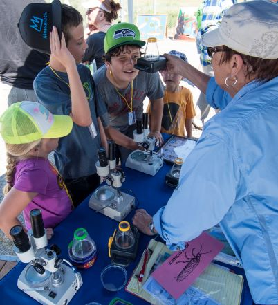 Volunteer teaching children about aquatic macroinvertebrates using microscopes