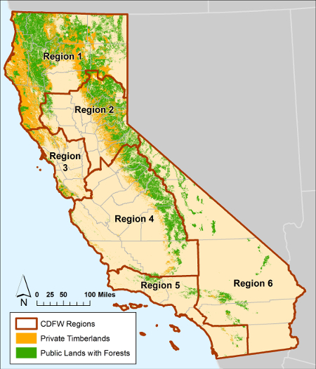 Map of California timberlands and CDFW regions - click to enlarge in new window