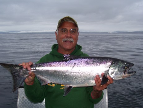 Adult ocean Chinook Salmon caught off the coast of Eureka (CDFW photo)