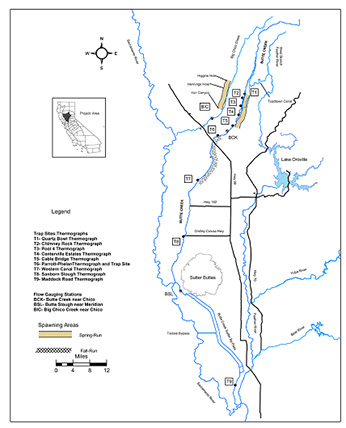 Butte Creek watershed and salmon spawning locations